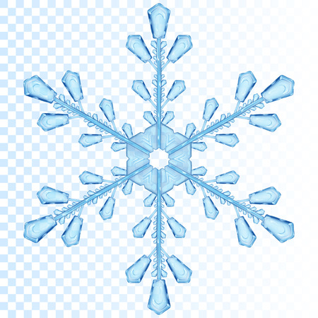 Big transparent snowflake in blue color. Transparency only in vector file Vectores