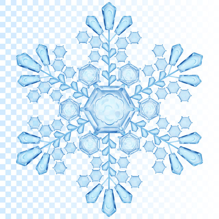 Big transparent snowflake in blue color. Transparency only in vector file Vettoriali