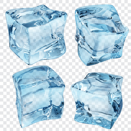 Set of four transparent ice cubes in blue colors Vectores