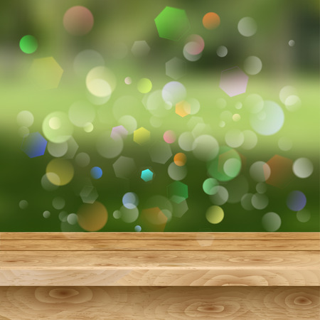 wooden board: Empty table of light brown wooden planks on green summer background with glares Illustration