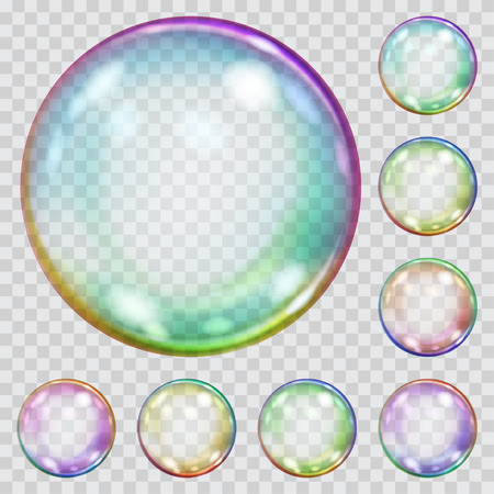 Set of multicolored transparent soap bubbles with glares