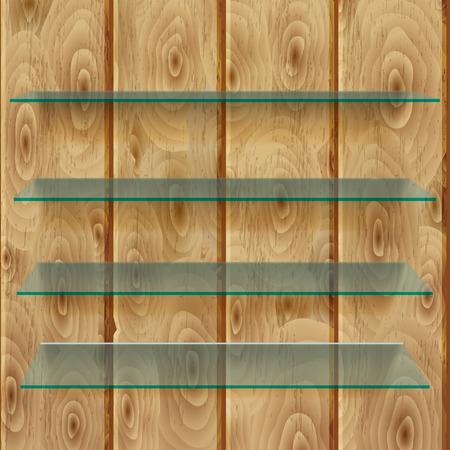 glass shelves: Glass shelves with shadows on vertical light brown wooden planks Illustration