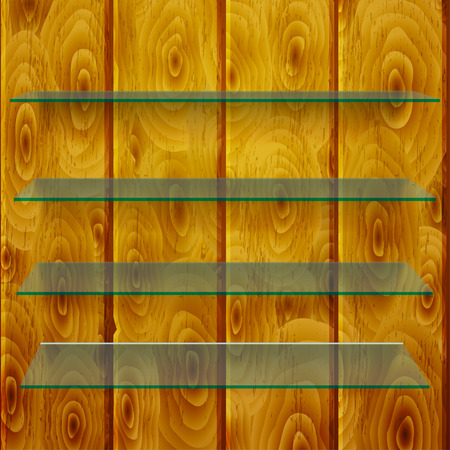 glass shelves: Glass shelves with shadows on vertical brown wooden planks