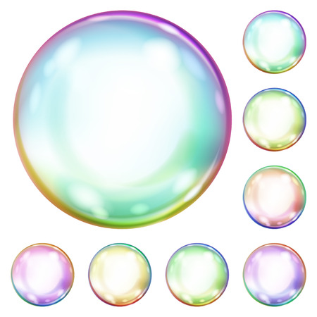 opaque: Set of multicolored opaque soap bubbles with glares