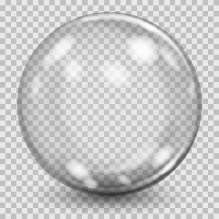 Big gray transparent glass sphere with glares and shadow. Transparency only in vector file