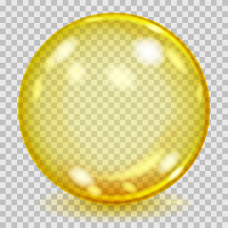 Big yellow transparent glass sphere with glares and shadow. Transparency only in vector file