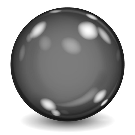 beads: Big black opaque glass sphere with glares and shadow on white background Illustration