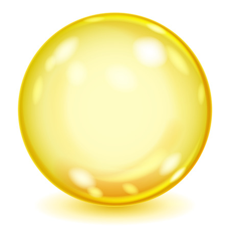 opaque: Big yellow opaque glass sphere with glares and shadow on white background
