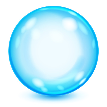 bubble background: Big blue opaque glass sphere with glares and shadow on white background