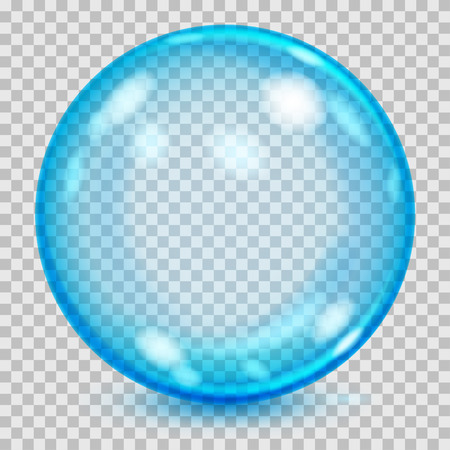 Big blue transparent glass sphere with glares and shadow. Transparency only in vector file Illustration