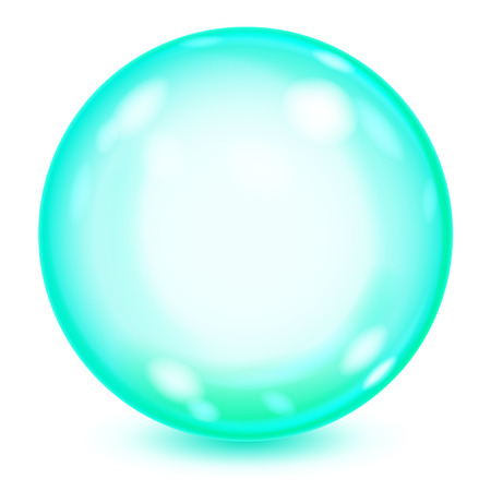 Big turquoise opaque glass sphere with glares and shadow on white background