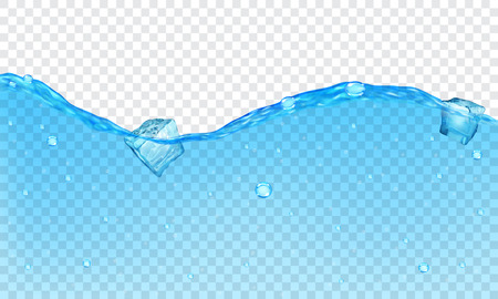 Background of transparent water with bubbles and floating ice cubes Vectores