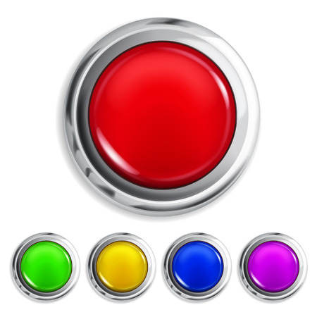 Set of realistic colored buttons with metallic borders Vettoriali
