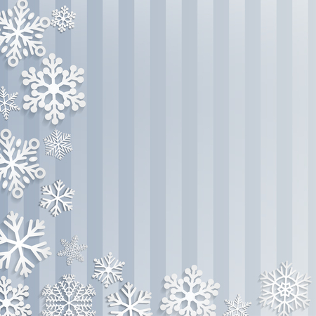 light blue: Christmas background with white snowflakes on light blue striped background