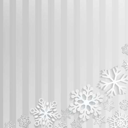 schneeflocke: Weihnachten Hintergrund mit wei�en Schneeflocken auf grauem gestreiften Hintergrund