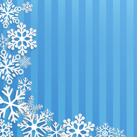 snowflakes: Christmas background with white snowflakes on blue striped background
