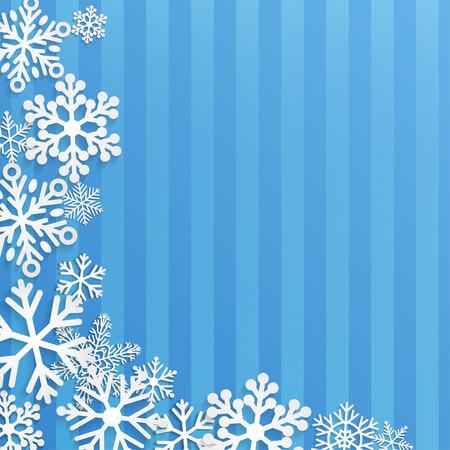 flocon de neige: Fond de No�l avec des flocons de neige blanc sur bleu ray� fond