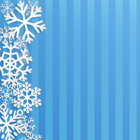 Christmas background with white snowflakes on blue striped background