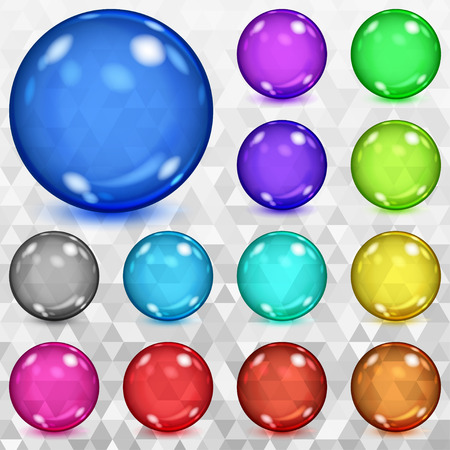 glass sphere: Set of multicolored transparent spheres with glares and shadows