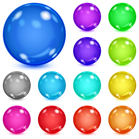 opaque: Set of multicolored opaque spheres with glares and shadows