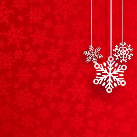 Fond de Noël avec des flocons de neige plusieurs suspendus sur fond rouge de petits flocons de neige Banque d'images - 45240277