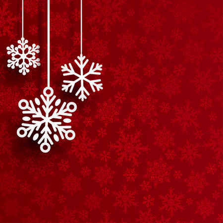 small tree: Christmas background with several hanging snowflakes on red background of small snowflakes