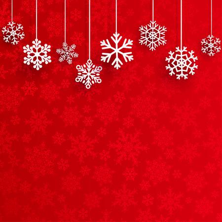 estaciones del año: Fondo de Navidad con copos de nieve de varios colgantes en fondo rojo de pequeños copos de nieve