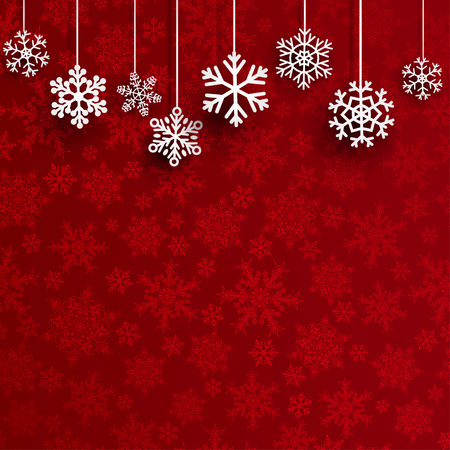 background colors: Christmas background with several hanging snowflakes on red background of small snowflakes