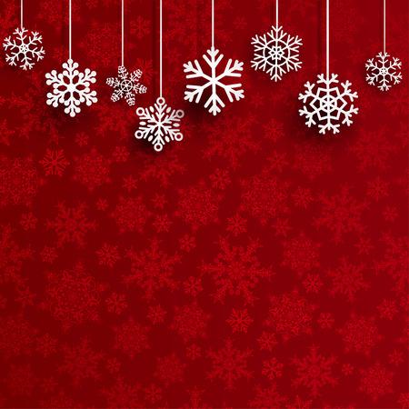 Weihnachtshintergrund mit mehreren hängenden Schneeflocken auf rotem Hintergrund der kleinen Schneeflocken