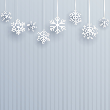 light blue: Christmas background with several hanging snowflakes on light blue striped background Illustration