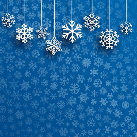 small: Christmas background with several hanging snowflakes on blue background of small snowflakes