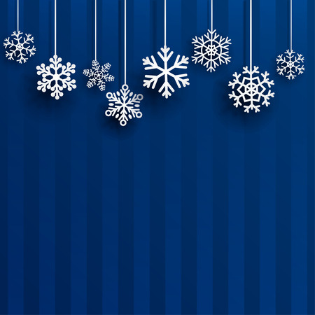 snowflakes: Christmas background with several hanging snowflakes on blue striped background