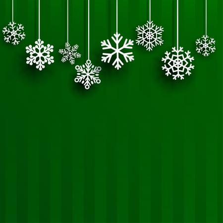 schneeflocke: Weihnachtshintergrund mit mehreren hängenden Schneeflocken auf grünen gestreiften Hintergrund