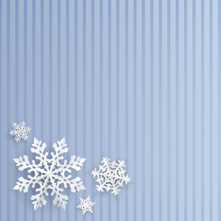 light blue: Christmas background with snowflakes cut out of paper on light blue striped background