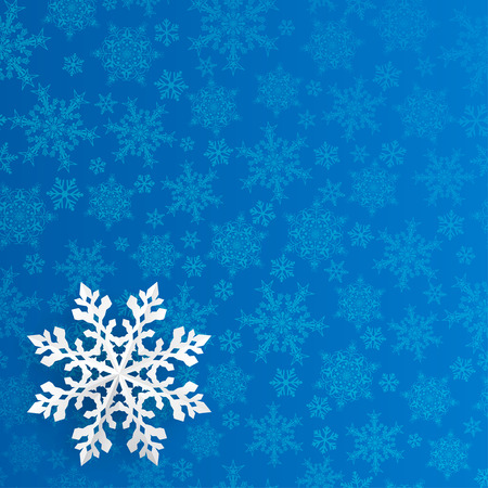 Christmas background with snowflake cut out of paper on blue background of small snowflakes Çizim