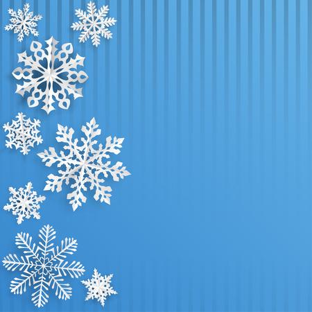 flocon de neige: Fond de Noël avec des flocons de neige découpés dans du papier bleu clair sur fond rayé