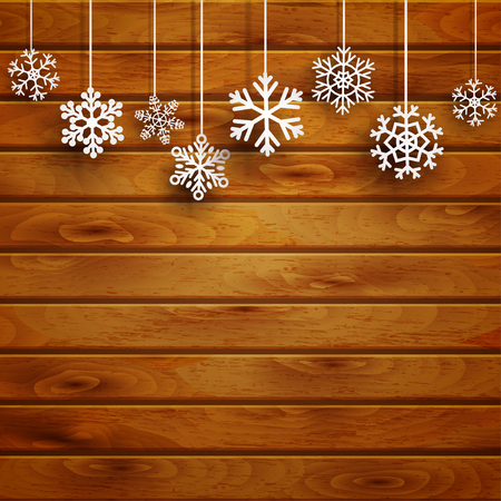 december background: Christmas background with white hanging snowflakes on brown wooden planks Illustration