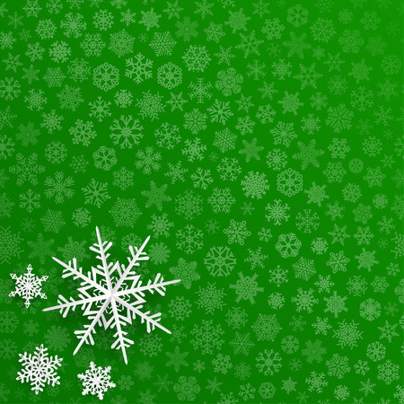 holiday greeting: Christmas background with snowflakes cut out of paper on green background of small snowflakes Illustration