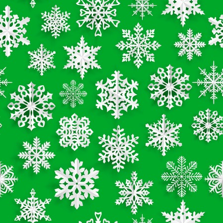 green paper: Christmas seamless pattern with white paper snowflakes on green background Illustration