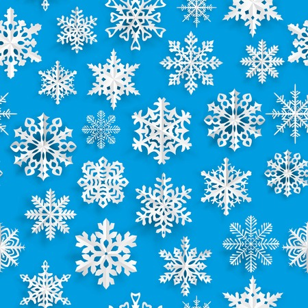 Christmas seamless pattern with white paper snowflakes on light blue background