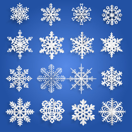 snowflake set: Set of white snowflakes cut out of paper