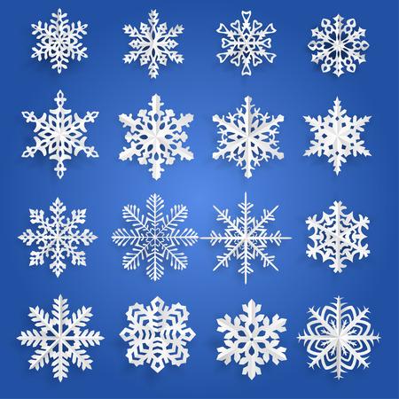 schneeflocke: Set von wei�en Schneeflocken aus Papier geschnitten Illustration