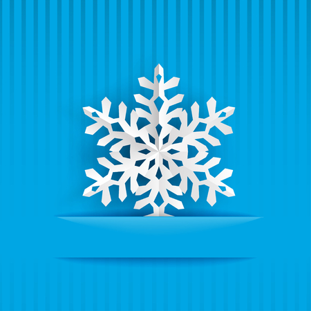 light blue: Christmas background with one big white snowflake cut out of paper on light blue striped background