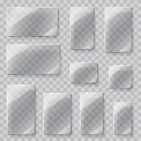 Glass: Conjunto de placas de vidrio transparentes de diferentes formas en colores grises. Sólo transparencia en el archivo vectorial Vectores