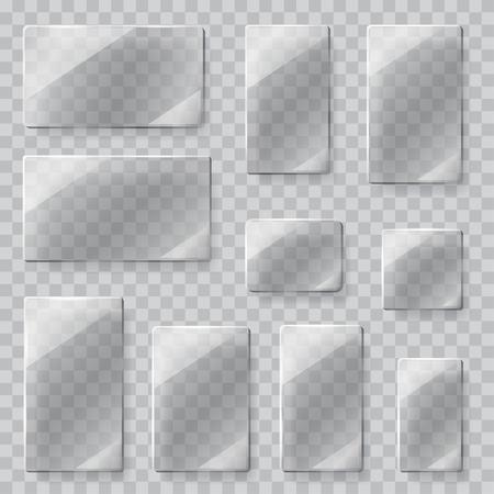 Plastik: Set von transparenten Glasplatten in verschiedenen Formen in grauen Farben. Transparenz nur in Vektordatei
