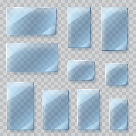 light blue: Set of transparent glass plates of different shapes in light blue colors. Transparency only in vector file Illustration