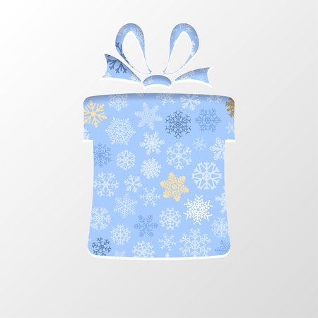 out of shape: Cut out the paper in shape gift box for Christmas, with white snowflakes on light blue background Illustration