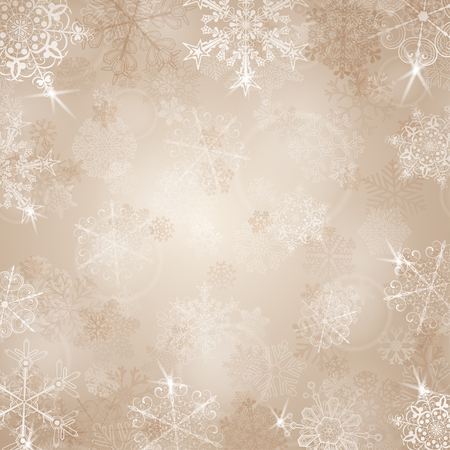 beige background: Christmas background with snowflakes in beige colors Illustration
