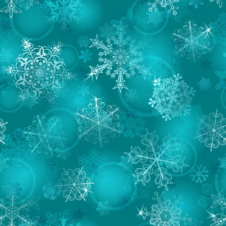 light blue: Christmas seamless pattern of snowflakes in light blue colors