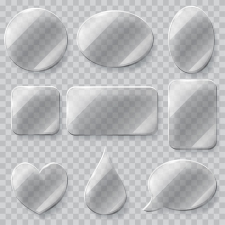 sign plate: Set of transparent glass plates of different shapes in gray colors. Transparency only in vector file